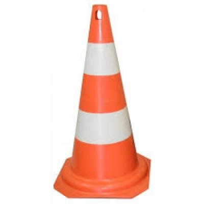 Cone de borracha  laranja/branco 75 cm