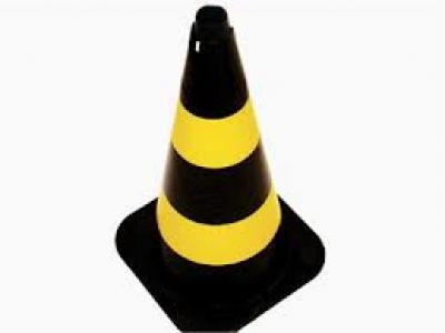 Cone plástico para sinalização, Preto/Amarelo 75 cm