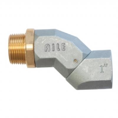 Conexão giratória, articulada em dois planos, entrada/saída 1