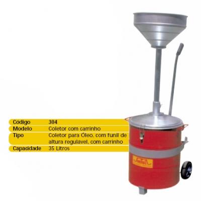 Coletor para óleo c/ carrinho, 35 Lts, funil regulável altura.